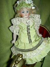 Exquisite petite KLING, Germany, c1880 #123 sgnd. sh.head bisque doll glass eyes