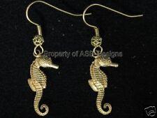 1pr Raw Brass Nautical Seahorse Earwire Earrings 5106