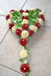 exclusiver Autoschmuck Herz Autodeko Gesteck Hochzeit creme rot Kunstblumen