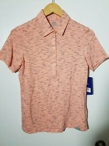 1 NWT SKECHERS WOMEN'S POLO, SIZE: SMALL, COLOR: CORAL/NAVY (J112)