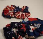 XL patriotic hair scrunchies - handmade - set of two