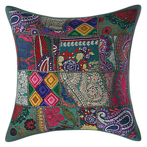 Handmade Patchwork Pillow case Cover Indian Bedding Sofa Cushion Coves Throw