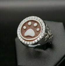anello da donna cammeo autentico con gatto argento regolabile GIOIELLO ITALIANO