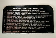 Gas Furnace Heater Operating Lighting Instructions Plate 502834 Ignition Steps