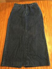 Lee Casuals Denim Skirt 8L Maxi Modest Plain Front Back Slit Blue Jean