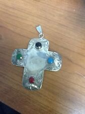 4 Gem Stones .925 Pendant Vintage Mexico Sterling Silver Cross With
