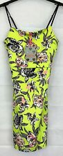 Womens BOOHOO Lime Green Strappy Floral Bodycon Party Dress UK14 NEW