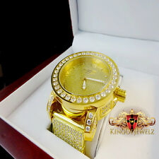 MEN REAL DIAMOND STAINLESSSTEEL GOLD FINISH 10 ROW ICED OUT KHRONOS JOJINO WATCH