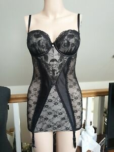 Black Silver satin mesh 34B basque body corset bra suspenders