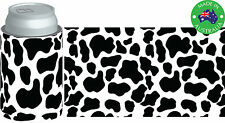 6x Designer Beer Can STUBBY HOLDER Stubbie Cooler Koozie with base Cow spots B&W