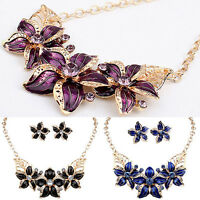 EG_ WOMEN RHINESTONE FLOWER STATEMENT PENDANT NECKLACE EARRINGS JEWELRY SET RETR