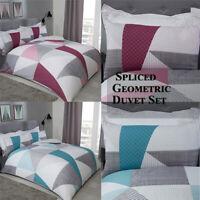Spliced Geometric Duvet Cover Set & Pillowcases Reversible Check Bedding