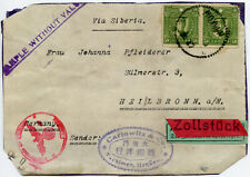 CHINA HANKOW  WW2 CENSORED 3rd REICH  Cover Front ZOLLSTUCK Label CARLOWITZ