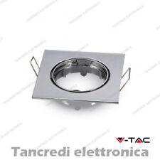 Portafaretto da incasso regolabile V-TAC VT-779 quadrato cromato 82x82x22 mm