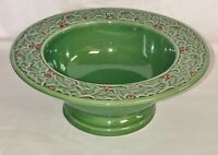 """American Atelier HOLLY BERRY* STONEWARE*GREEN* 10"""" FOOTED CONSOLE BOWL*"""
