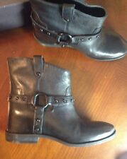 Enzo Angiolini Rokira Black Leather Ankle Stud Boots Studded Biker Shoes 8.5 NU