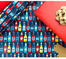 Father's day birthday gift wrapping paper beers cheers 50cmx70cm 1 sheet