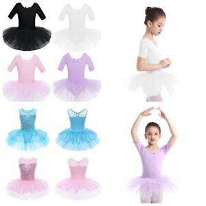 Mädchen Kinder Ballettkleid Ballettanzug Tütü Tanz Trikot Gymnastik Tanzkleid