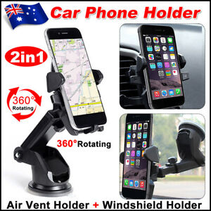 Car Phone Holder Dashboard Air Vent Clip Mount Stand Windscreen Bracket Suction