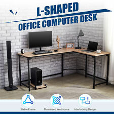 L Shaped Gaming Computer Corner Desk W Cable Management 47x19 66x19 Oak Home