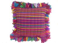 Cushion Cover Multi Colour Shaggy Rag Rug Style Multi Stitch 60 x 60cm & Inner