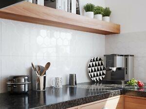 £16.89 3D Hexagon Pure White High Gloss Tiles 60X30 Wall Kitchen-Bathroom SAMPLE