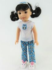 """3PC Owl Pajamas PJs For 14.5"""" Wellie Wishers American Girl Doll Clothes"""