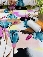 "🌸Soft Viscose Floral Printed Dress Fabric, Skirts Blouse, Dress. ""Tulip"""