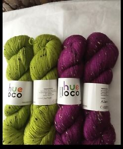 4 New Skeins Hue Loco Tweed Sock Yarn  2 of each color Chartreuse and Mulberry
