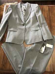 NWT Tahari Arthur S. Levine grey two piece pant suit size 14.
