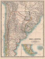 Chile y Argentina. Paraguay incluso Gran Chaco. Uruguay. Johnston 1912 Mapa