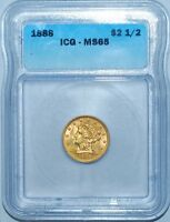 1888 ICG MS65 $2.50 $2 1/2 Gold Liberty Head Quarter Eagle