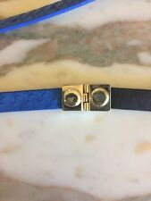J Crew Belt Blue Black Gold Buckle Skinny Leather Size Small