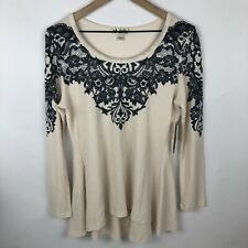 NWT Unity World Wear Women's Thermal Embellished Tunic Sz M High Low Ivory-Lacy