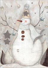 Snowman with Star Gems and Glitter Box of 12 Handcrafted Christmas Cards