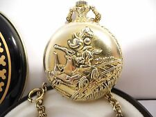 DISNEY MICKEY MOUSE ENGINEER POCKET WATCH  DISNEY TIN GENTLY USED