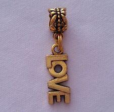 Love Word Message Slide Dangle Bead Gold Tone Fits Most European Charm Bracelet