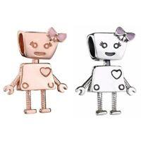 Silver Charm Enamel Robot Rose Gold Little Bella Bot Bead Fit European Bracelet