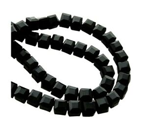 100 Celestial Crystal® Faceted 5mm Jet Black Glass Cube Cubes Spacer Beads
