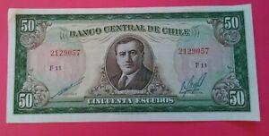 Billet de banque/Banknote CHILI 50 ESCUDOS  TB