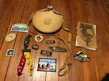 Nice Large lot of Various Boy Scouts / CUB scouts items - knife, canteen, book