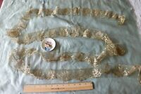 "Antique French 19thC Machine Made Gold Metallic Rose Lace Yardage~136""X 2""~Dolls"