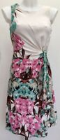 Laura Ashley Pink Green Cream Floral Ruched Chiffon Lined Fitted Midi Dress Sz 8