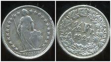 SUISSE 1/2 franc  1921  ARGENT  ( bis )