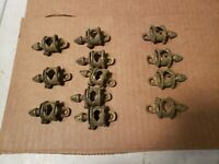 12 Antique Victorian Cast Brass Stair Runner Rod Ends holders brackets