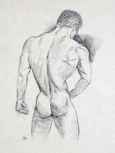 Original Male Nude Drawing Ink on Paper - 2012 -12x9 in.- Men - Benavides Art