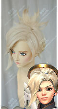 Overwatch OW Mercy Wig Angela Ziegler Clip Ponytail Light Blonde Cosplay Wigs