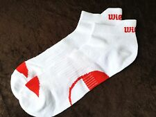 MENS QUALITY WILSON TAB BACK TRAINER SOCKS WHITE RED ARCH SUPPORT BREATHABLE