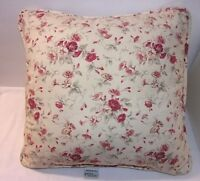 "Waverly Red Floral Throw Pillow Morning Glory Garden Room Flowers 15"" Square EUC"