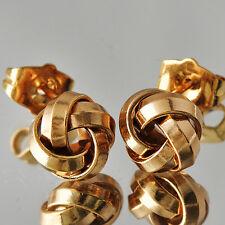 Womens Girls Vintage Yellow Gold Filled Big Large Cute Rose Flower Stud Earrings